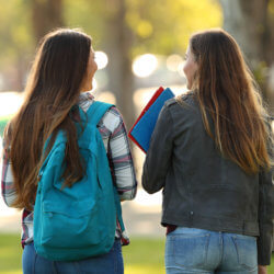 Two high school students are walking together in a park-like setting outside. They're backs are to the camera and they're having converation. Both are carrying workbooks.