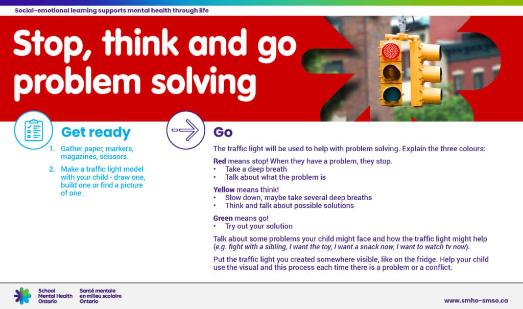 Instructions for stop, think, go problem solving activity