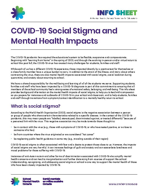 COVID-19 Social Stigma and Mental Health Impacts