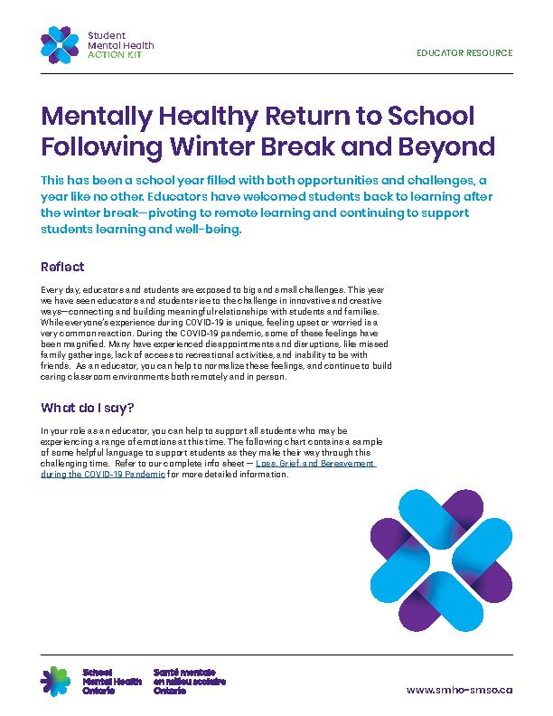 Mentally Healthy Return to School Following Winter Break and Beyond
